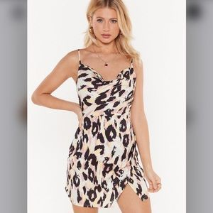 Nasty Gal satin leopard dress